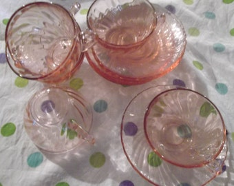 vintage PINK GLASS  French Tea SET, 6 cups and saucers, tea, cafe au lait, cappucino