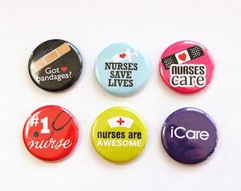 Nurse magnets, Magnets for nurse, Gift for Nurse, button magnets, Nurses week, Kitchen Magnets, iCare, Nursing, stocking stuffer (3307)