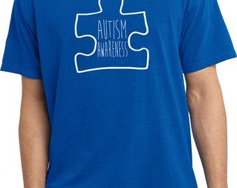 Men's Autism Awareness White Puzzle Pigment Dyed Tee T-Shirt WPUZZLE-PC099
