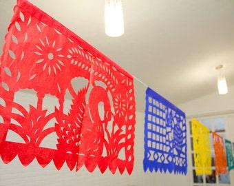 3 Papel picado, mexican papel picado, party papel picad, party decoration, mexican party, tissue paper, paper banners, mexican paper banners