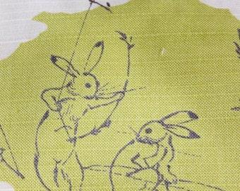 Furosiki birds and beasts caricature. green 鳥獣戯画 風呂敷 緑