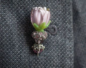 Brooch, Lapel pins - Grooms boutonniere -  tie pins - Flowers (Clear pinsk), gifts for him