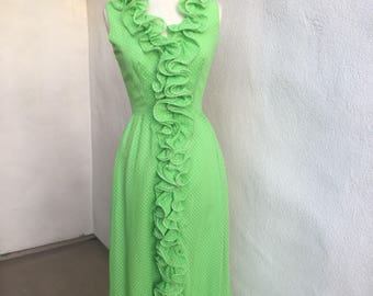 Vintage maxi chiffon lime green dress ruffles lined sleeveless polka dots sz S/M