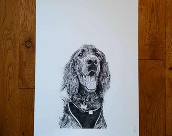 Custom Pet Portrait, Dog Portrait - A3