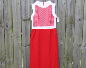 60s Red and White Maxi Dress