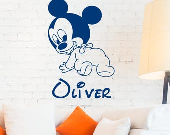 Mickey Mouse Custom Name Wall Decal Personalized Sticker Art Disney Decorations For Home Teen Kids Boys Room Bedroom Nursery Decor ET124