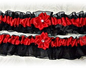 Black and red wedding bridal leg garter set, prom garters.
