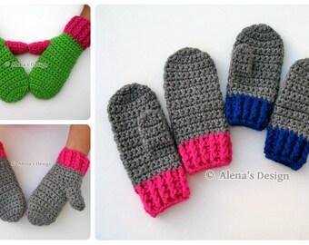 Crochet Mitten Pattern - Crochet Pattern 104 for Children's Mittens - Mittens Patterns - Crochet Glove Pattern Kids Mittens Toddler Mittens