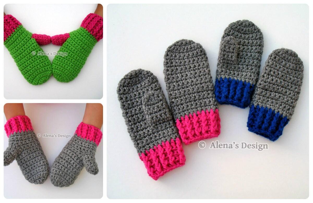 Crochet Mitten Pattern - Crochet Pattern 104 for Children\'s Mittens ...