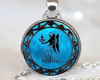 Virgo Zodiac Pendant, Virgo Zodiac Necklace, Virgo Zodiac Jewelry, Silver (PD0341)
