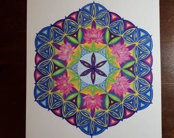 "Lotus Flower of Life 11""x15"" print of painting"