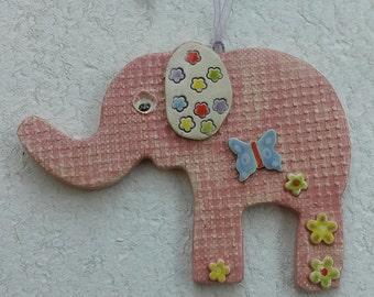 Pink pottery elephant hanging decoration