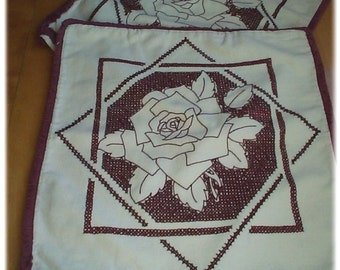 X-STITCHED ROSES IN BURGUNDY - Vintage Pillow Covers - Country Cottage Cross Stitched