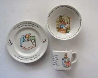 Vintage Peter Rabbit Dishes, Beatrix Potter Wedgewood Cup, Plate, and Bowl