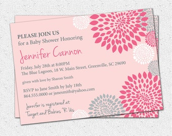 Baby Shower Invitation Girl, Printable, White, Hot and Pale Pink and Grey Gray Floral Modern, DIY Digital File