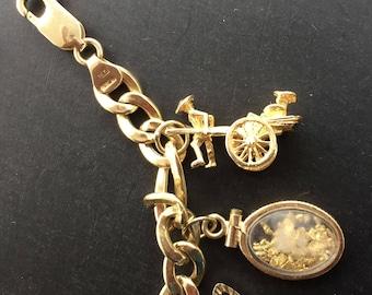 Vintage 14K Gold Charm Moveable Parts Rickshaw  Marked 585