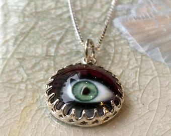 Eye necklace, Eye pendant, Evil eye jewelry, Layering Necklace, simple necklace, sterling silver necklace, funky necklace - look at me N2102