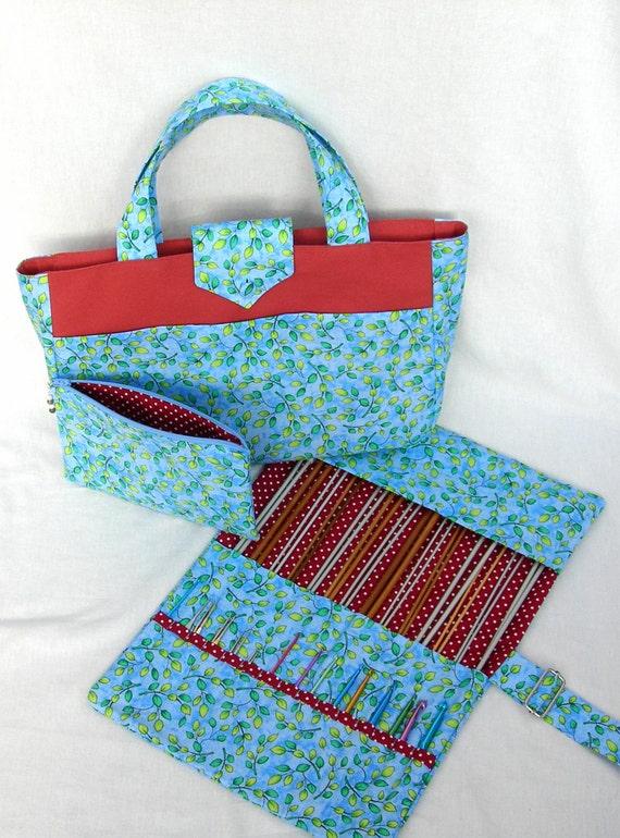 Leaf pattern knitting bag. Knitting needle holder. Crochet hook case ...