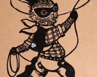 """Cahier vintage Lapin Cowboy/ """"Kiss Bang Bang""""/ Superhéro Lapin/ idée cadeau originale/ cadeau pour ami/ à personnaliser"""