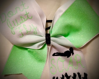 Glitter CHEER Bow Don't Just Fly SOAR in Many Colors~Cheerleading FLYER Cheer Gift Glitter Bow