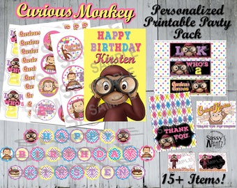 Curious Monkey Personalized Party Pack-Digital, Printable *You can SEPARATE this Kit