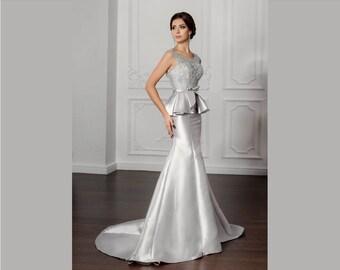 Robe de soirée longue en satin et dentelle , robe tenue de cocktail  cérémonie mariage en satin duchesse coupe sirène avec traîne sur mesure
