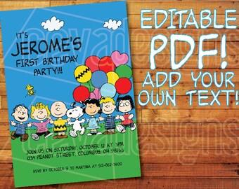 "Printable Peanuts Invitation / Snoopy Invitation for Peanuts Birthday Party (5"" x 7"") Editable PDF Instant Digital Download Charlie Brown"
