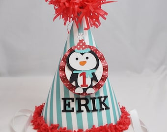 Boy Penguin Party Hat- Red and Aqua- Winter Onederland- Personalized