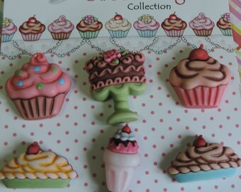 """Dessert Buttons, Carded Buttons, """"Decadent Desserts"""" SD104 by Buttons Galore, 6 Button Set, Cupcake, Pie, Shake and Cake Buttons"""