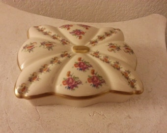 Ceramic Trinket Box with Floral Pattern