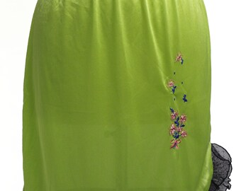Vintage 90s Anna Sui Neon Embroidered Slip Skirt with Lace