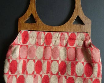 Funky 1960s Red and Cream Knitting Project Bag