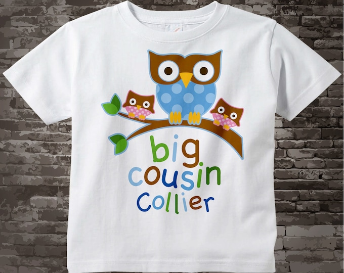 Big Cousin Owl with Twin Girl Baby Cousins Tee Shirt or Onesie 04202017a