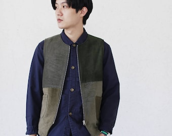 Army Green Corduroy Patchwork Zipper Vest