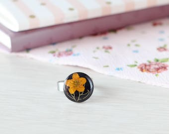 Real flowers ring - resin flowers ring  botanical womens ring  floral ring Adjustable ring  Floral jewelry real yellow flower ring for wife