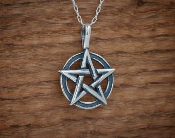 STERLING SILVER Pentagram Pent Pentacle Pendant Necklace - Chain Optional