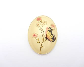 """Oval illustrated glass cabochon, 30x40mm """"Butterfly"""" to stick"""