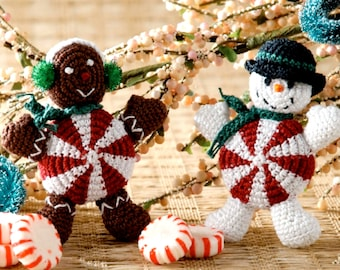 Vintage Crochet Pattern Peppermint People Gingerbread Man Snowman Amigurumi Christmas Decoration Holiday Ornament  DIGITAL DOWNLOAD PDF