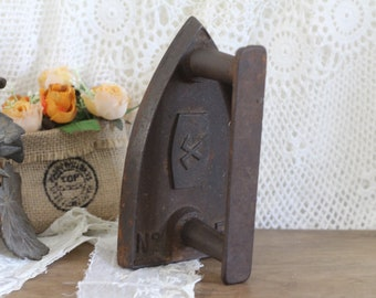 Vintage French Flat Iron - Sad Iron - Bookend - Doorstop