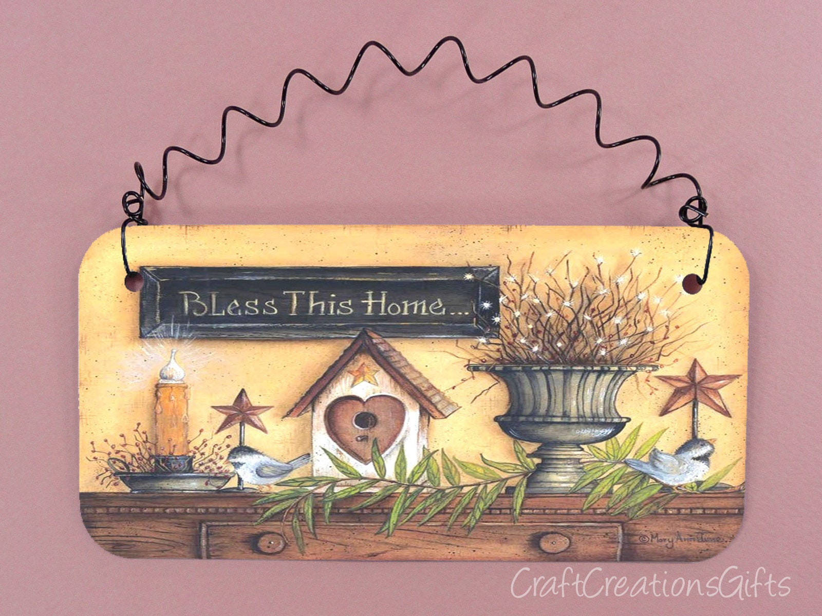 PRIMITIVE SIGN Bless This Home Cute Metal House Decor Country