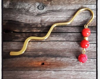 gold charm bookmark red beads
