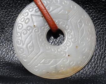Antique Jade Pi Pendant, Large 3 Inch Nephrite, 18th/19th Century Museum Quality