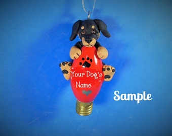Black and Tan smooth coat Dachshund Dog Christmas Holidays Light Bulb Ornament Sally's Bits of Clay OOAK PERSONALIZED FREE with dog's name