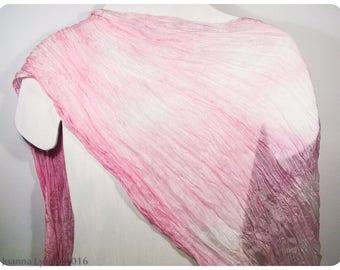 "SALE. Shibori Silk Scarf~Hand painted silk scarf~27x64"" FLAT (.7x1.6m)~Silk scarf handpaint~Handpainted silk scarves~Painted silk scarves~#2"