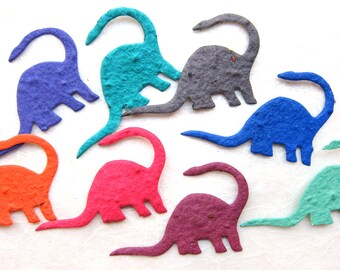 10 Seed Dinosaur Birthday Party Favors - Plantable Paper - Kids - Unique and Educational Brontosaurus