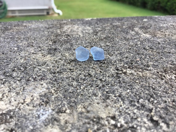 Surf Tumbled, Cornflower Blue Seaglass, Hypoallergenic Stainless Steel Stud Earrings