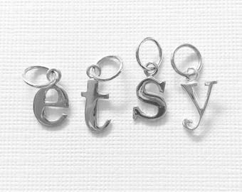 ONE Sterling Silver Letter Charm Alphabet Initial Lower Case Small Pendant Typewriter Font Jewelry Supplies Personalized Metal Charm Qty 1