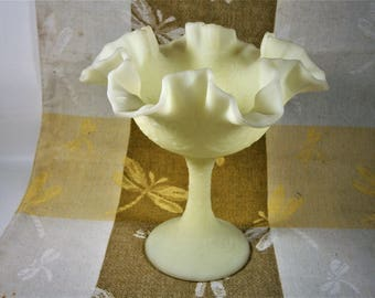 Fenton Satin Glass Ruffled Compote, Pale Yellow Custard Glass Pedestal Bowl, Vintage Candy Dish, Persian Medallion Compote