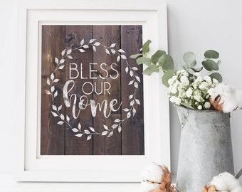 Country Decor - Rustic Wall Decor - Farmhouse Printables - Bless This Home - Rustic Wall Decor Living Room - Farmhouse Gallery Wall