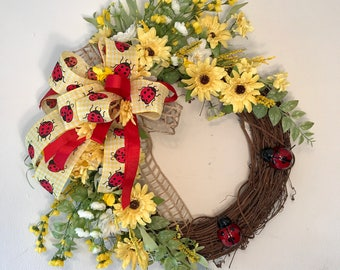 Yellow Spring Grapevine Wreath, Mother's Day swag, Spring Wreath, Summer wreath, Summer Grapevine wreath, wreaths for front door